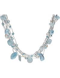 Dew 98127AQ004 - Collar de mujer de plata de ley con 1 aguamarina