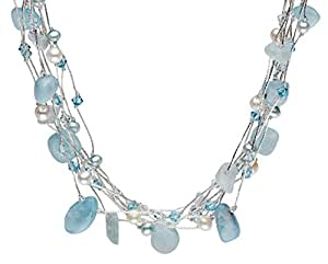 Dew Aquamarine Crystal Beads Multi Strand Sterling Silver Long Necklace of Length 46 cm