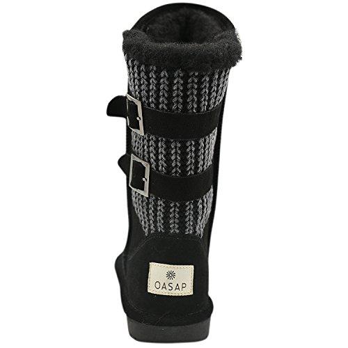 Oasap Femme Ribbed Knit Paneled Boucle Hiver Haut Bottes Fourées Black
