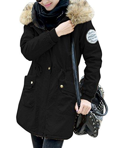 Damen Wintermantel Warm mit Kapuze Pelzkapuze Übergangsjacke Herbst Parka Lang Steppjacke Schwarz S