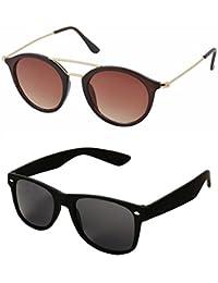 [Sponsored]Aventus Stylish Sunglasses Combo-Black Wayfarer Sunglasses & Brown Round Sunglasses For Men Women