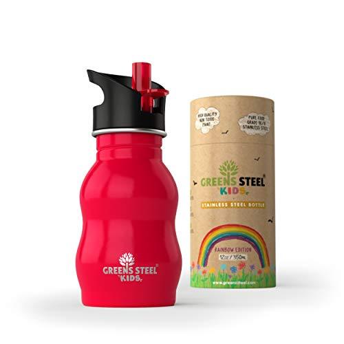 Greens Steel Edelstahl Wasserflasche für Kinder – 350ml Trinkbecher mit auslaufsicherem Sportverschluss und Strohhalm – Kinderfreundliche Flasche für Kleinkinder (Rot)