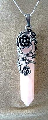 pendentif pointe quartz rose
