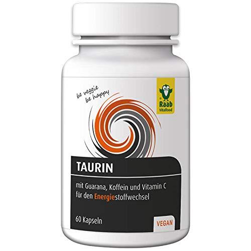 Raab Vitalfood Taurin-Kapseln mit Guarana, Koffein, Vitamin C, 60 Stück, Sport, Premium Qualität, laborgeprüft aus Deutschland, vegan & glutenfrei