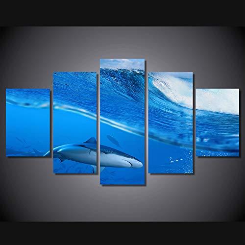 Ssckll Leinwandbilder Hd Print Room Fashion Wandkunst 5 Stücke Wellen Blue Sea Shark Gemälde Wohnkultur Tier Poster-Rahmen