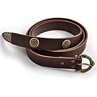 Ropa medieval - Cinturón vikingo con remaches decorativos - marrón