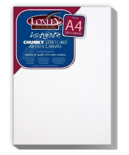 Colourfull Arts Loxley Ashgate Chunky Stretched Artists - Lienzo (A4, 36mm de ancho), color blanco