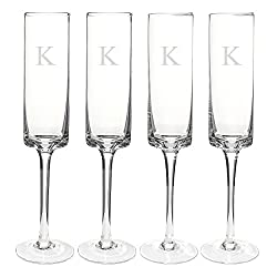 Cathy's Concepts Personalized Contemporary Champagne Flutes, Initial K