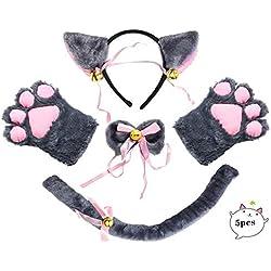 Beelittle Cat Cosplay Costume Kitten Ears Collar de Cola Paws Cat Cosplay Collection 5 Pack (Gray)