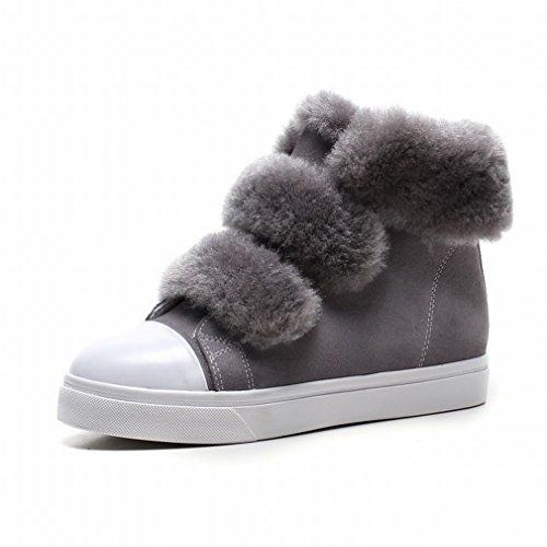 XAI Scarponi da Neve Caldi Spessi Occidentali Velcro Più Scarpe da Donna in Cashmere Autunno e Inverno Grigio