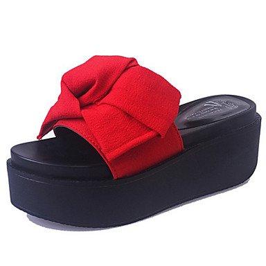 LvYuan Sandalen-Kleid Lässig-Stoff-Flacher Absatz Keilabsatz-Komfort-Mehrfarbig Red