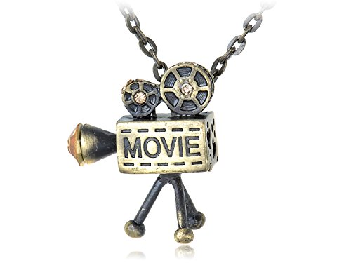 Alilang Messing Ton Vintage inspirierte Old School Film Filmrolle Projektor-Anhänger-Halskette (Vintage Filmrolle)