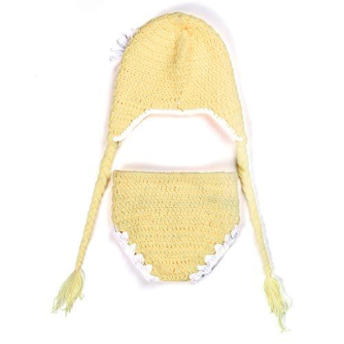 Kostüm Handgemachte Kleinkind - fgghfgrtgtg 2pcs / Set Newborn Sonnenblume Fotografie Prop-Kleidungs-Satz-weicher Säuglings-Kostüm-Hut Hosen Crochet Strick Baby-Foto-Prop-Klage
