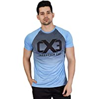 Crossover Era Men's Polyester Round Neck Dry Fit Gym T-Shirt (Blue, XL)