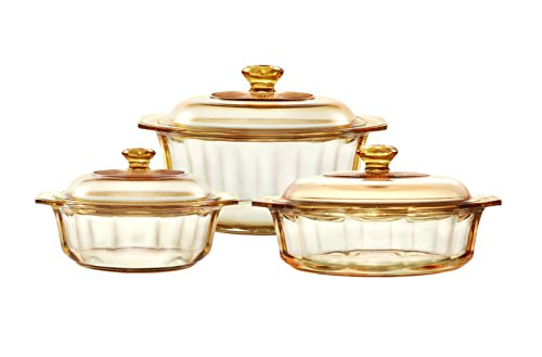 Visions Pyroceram Glass Diamond 6Pc Casserole and Cookpot Pot Set, Brown