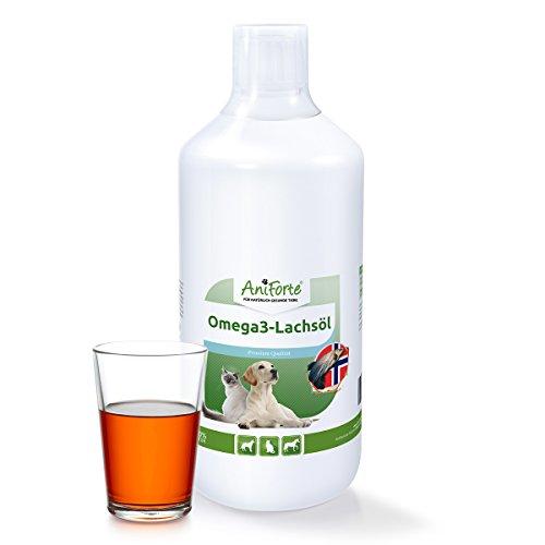 AniForte Omega-3 Lachsöl 1 Liter für Hunde, Katzen und Pferde, Kaltgepresst, Reich an EPA, DHA und ALA Fettsäuren, Barf Ergänzung
