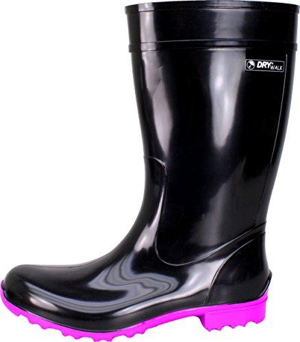 BOCKSTIEGEL® LUISA - Modische Damen Gummistiefel | 36-42 | Rubber Boots Black/Fuchsia