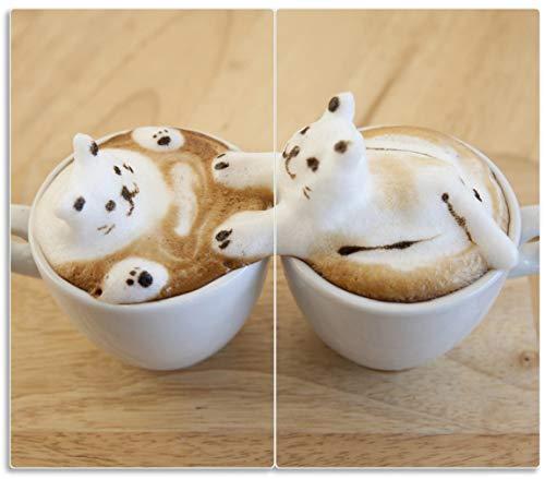 Wallario Herdabdeckplatte/Spritzschutz aus Glas, 2-teilig, 60x52cm, für Ceran- und Induktionsherde, Süße Milchschaum Katzen auf Kaffee - Kaffee-pakete Individuelle
