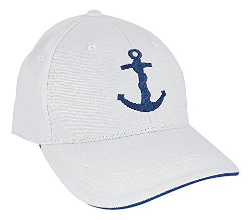 Sea-Club Schirmmütze, Cap in weiß mit Schritfzug oder Ankermotiv, 100% Baumwolle, Aufdruck:Anker
