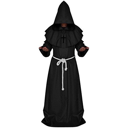 Imagen de adultos disfraz de monje verdugo sacertote traje medieval con cruz cosplay para halloween carnaval