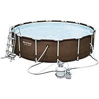 Bestway Power Steel Rattan Frame Pool mit Sandfilter + Zubehör, 427 X 107cm