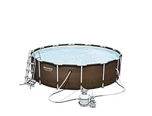 Bestway power steel rattan frame pool mit sandfilter zubeh r 427 x 107cm garten - Pool mit sandfilter ...