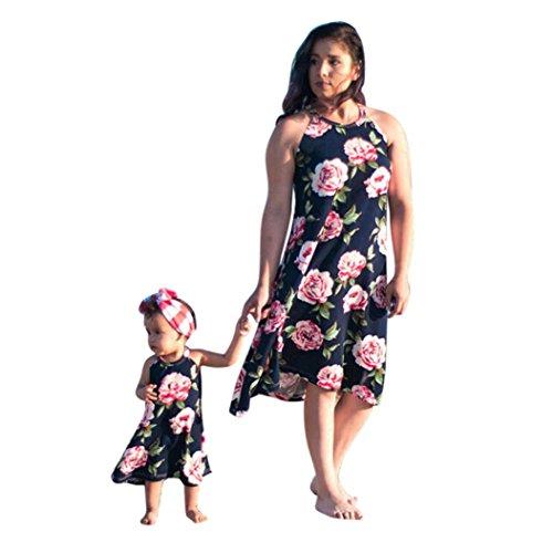 AMUSTER.DAN Familie Kleid Mutter und Tochter Matching Blumenkleider Frauen Mädchen Lange Rose Kleider (L, Navy)