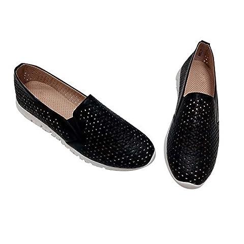 Hengfeng Frauen Leder Quaste Schuhe (39 EU, Schwarz)