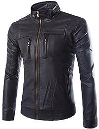 45418a7e8857 Jueshanzj Homme Blouson en Cuir PU Veste zippé Moto Manteaux