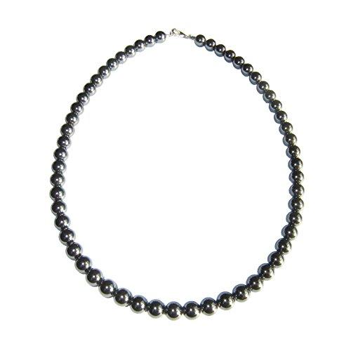 Collar Hematita 100cm - Bolas de piedra 8mm - Cierre de Plata
