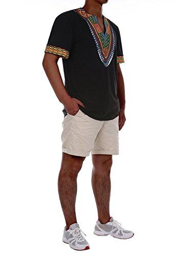 Swallowuk Herren Traditionelle Ethnic-Muster Bluse Beiläufige Thailand Stil Afrikanisch Bedruckte V-Ausschnitt T-Shirt Tops (XL, Schwarz)