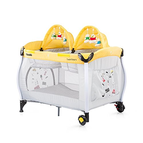Chipolino Play Pen and Crib (Twin Stars Lemon)