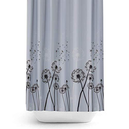 Dandelion Rideau de douche en tissu, étroit ou Large Disponible en 5Différentes tailles sur mesure, Light Grey Background with Dandelions, 240 x 200CM