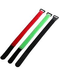 """TRIXES 9 x Correas para Atar Cables 11 /"""" 28cm Gancho y Presilla de Color Ajustable"""