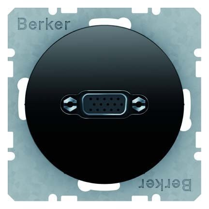 HAGER 3315412045 - TOMA VGA TERMINAL TORNILLO MORDAZA R1/R3 NEGRO BRILLO