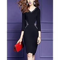 8b9adcad74b3 PU PU Fodero Vestito da Donna-per Uscire Taglie Forti Moda Città Tinta Unita  A V al