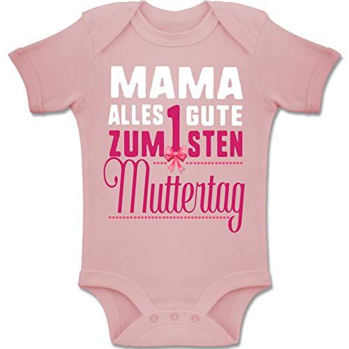 Shirtracer Muttertag Baby - Mama, Alles Gute zum 1sten Muttertag - 3-6 Monate - Babyrosa - BZ10 - Baby Body Kurzarm Jungen Mädchen
