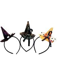 Leisial 3pcs Sombreros para Halloween Sombrero Gorro de Bruja Tocado Vendas de Pelo para Halloween Fiesta
