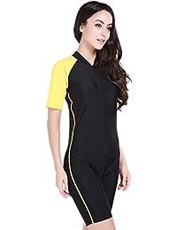 2f65dddb76b81 YEESAM Girls   Ladies Modesty Jumpsuit One Piece Swimsuit Surfing Suit  Short Sleeve UPF 50+