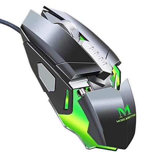 Kabelgebundene Gaming-Maus mit Metallsockel, 4000 dpi, 9 programmierbare Tasten, mit 7 Farbzyklen, LED-Licht, ergonomische Gaming-Maus -