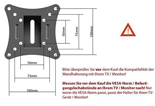 Monitor Wand-Halterung Monitor-Halterung Schwenkbar Neigbar S2311 |RICOO| Schwenkarm TFT Wandhalterung LCD LED Wandhalter fuer Flach-Bildschirm PC-Monitor 43-49-54-61-68cm / 17′ 19′ 22′ 24′ 27′ Zoll | VESA 75×75 100×100 universell passend fuer viele TV und Monitor Hersteller |Wandabstand nur 65 mm| - 3