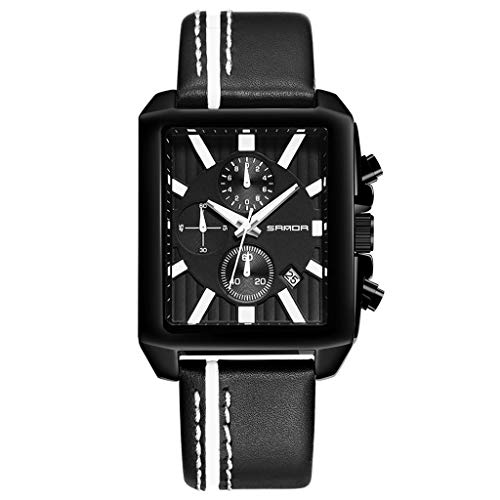 UINGKID Herren Uhr analog Quarz Armbanduhr Uhren Sanda Sports Chronograph Lederband Quartz Military Table Männlich