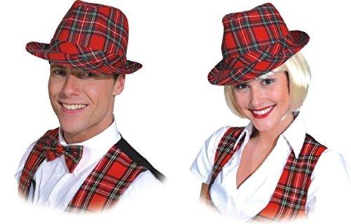 O23732-17 Karo-Hut rot-kariert Schottenhut (Schottische Kostüm Für Erwachsene)