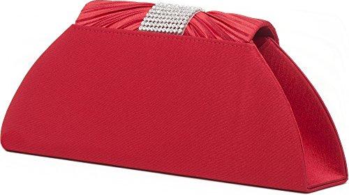 VINCENT PEREZ Borsetta, Borsa a tracolla, Pochette di raso increspato con strass e tracolla rimovibile (120cm) rosso