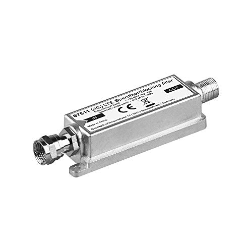 Goobay 67511 LTE (4G) Sperrfilter für besseren DVB-T Empfang, F-Stecker F-Buchse silber 2050 Mhz-tv