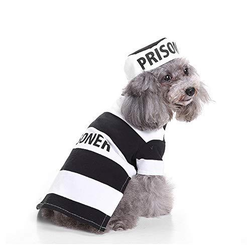 FZXPET Haustier-Kleidung, Lustiger Hundekatzen-Gefangener-Anzug, Halloween-Haustier-Cosplay, Zweiteiliger Anzug - Kleidung + Hut,A,L (Gefangene Haustier Hunde Kostüm)