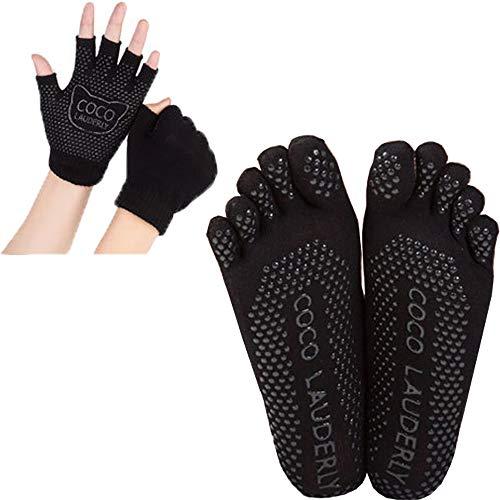 Pilates Socken und -Handschuhe, Rutschfeste mit Gummisohlen Atmungsaktivität, für Yoga Tanz Fitness, Einheitsgröße (Handschuhe + Socken, Schwarz) -