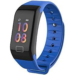 SoloKing F1 Pulsera Actividad Pantalla Color Reloj Pulsera Inteligente con Pulsómetros,Sueño,Podómetro,Calorías,Llamadas/Mensajes/Whatsapp Alertas(Azul)
