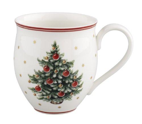 Villeroy & Boch Toy's Delight Kaffeebecher, 440 ml, Premium Porzellan, Weiß/Rot