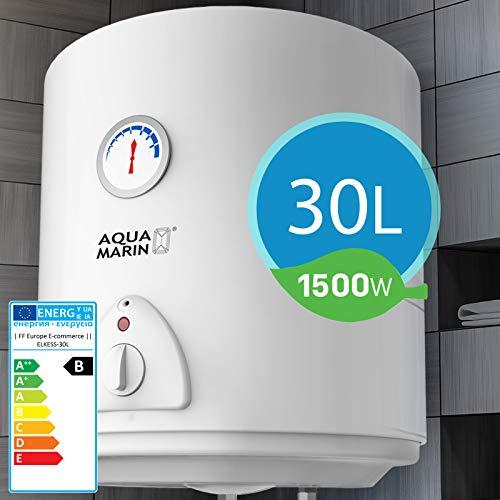 Elektro Warmwasserspeicher I Größenwahl 30,50,80,100 Liter Speicher, 1500W Heizleistung und Thermometer I Boiler, Wasserboiler, Warmwasserboiler (30L)